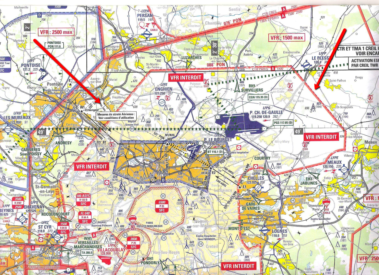 Carte Aeronautique Region Parisienne.Volets10 Fr